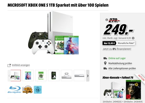Xbox One S 1TB Battlefield Bundle inkl. 2x Controller und Fallout 76 [Xbox One] - jetzt 20% billiger