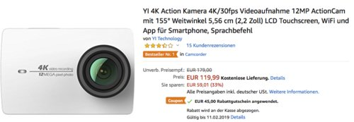 YI 4K Action Kamera mit 155° Weitwinkel, weiß - jetzt 38% billiger