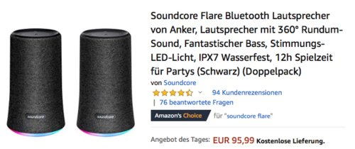 2er PackSoundcore Flare Bluetooth Lautsprecher, schwarz - jetzt 40% billiger