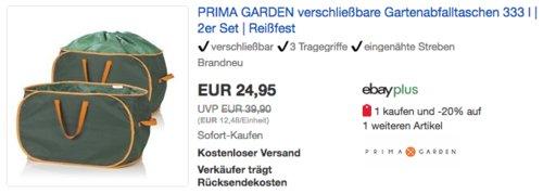 2er Set PRIMA GARDEN verschließbare Gartenabfalltasche je 333 Liter - jetzt 29% billiger
