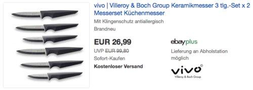 2x vivo Villeroy&Boch Group Keramikmesser 3 tlg.-Set - jetzt 25% billiger