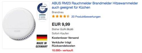ABUS RM23 Rauchmelder mit Hitzewarnfunktion - jetzt 60% billiger