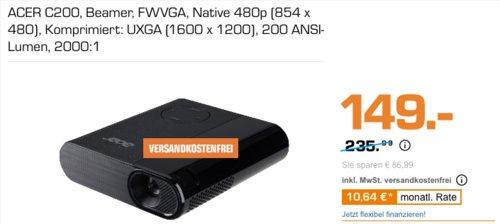 Acer C200 DLP Mini LED-Projektor, 200 ANSI-Lumen - jetzt 22% billiger