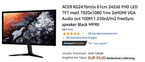 ACER KG241(UM.FX1EE.010) 61cm (24 Zoll) Full-HD Monitor, 1ms - jetzt 15% billiger