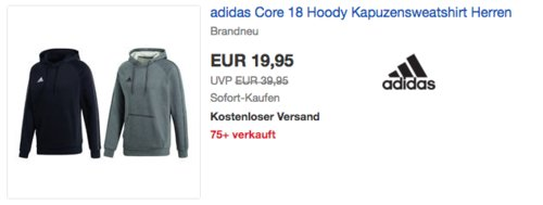 adidas Core 18 Herren Kapuzensweatshirt - jetzt 17% billiger