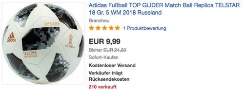 Adidas Fußball TOP GLIDER Match Ball Replica TELSTAR 18 Gr. 5, WM 2018 Russland - jetzt 38% billiger