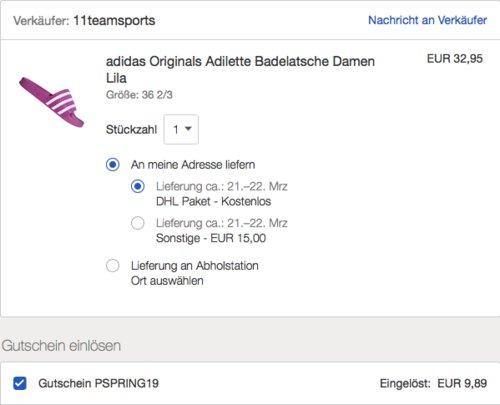 adidas Originals Adilette Damen-Badelatsche, lila - jetzt 30% billiger