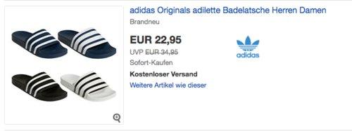 adidas Originals Adilette Unisex Dusch-& Badeschuhe in versch. Farben und Größen - jetzt 23% billiger