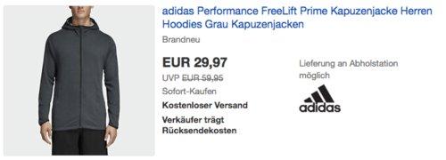 "adidas Performance Herren Kapuzenjacke ""FreeLift Prime"", grau - jetzt 23% billiger"