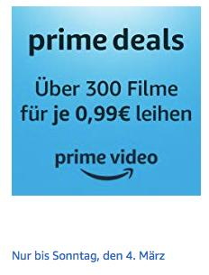 Amazon Prime Video: über 300 Filme für je 0,99€ zum Ausleihen - jetzt 75% billiger