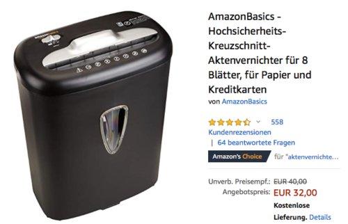 AmazonBasics - Hochsicherheits-Kreuzschnitt-Aktenvernichter,  P3 Sicherheitsgrad - jetzt 20% billiger
