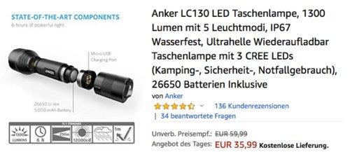 Anker LC130 LED-Taschenlampe mit 1300 Lumen - jetzt 15% billiger