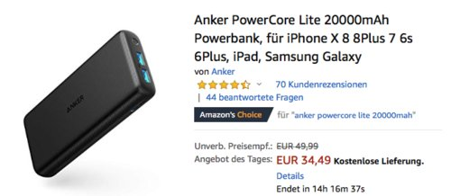 Anker PowerCore Lite 20000mAh Powerbank - jetzt 21% billiger
