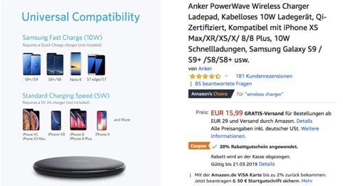 Anker PowerWave Wireless Charger Ladepad 10W, kabelloses Ladegerät, Qi-Zertifiziert - jetzt 36% billiger