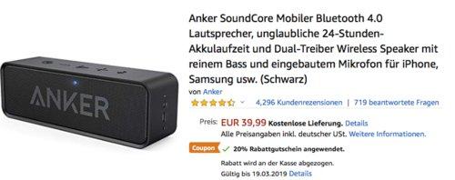 Anker SoundCore Bluetooth Lautsprecher, schwarz - jetzt 20% billiger