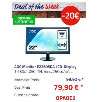 "AOC Monitor E2260SDA 55,9 cm (22"") LCD-Display, schwarz - jetzt 20% billiger"