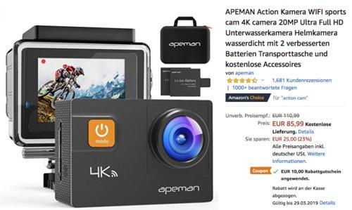 APEMAN 4K Action Cam A80 (20MP, Ultra Full HD, 2 x Batterien, Unterwassergehäuse) - jetzt 12% billiger