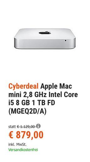 Apple Mac mini 2,8 GHz Intel Core i5,  8 GB RAM, 1 TB Fusion Drive (MGEQ2D/A) - jetzt 6% billiger