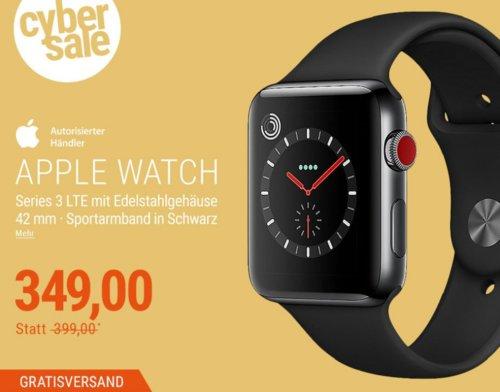 Apple Watch Series 3 LTE 42mm Edelstahlgehäuse mit SpaceSchwarz Sportarmband - jetzt 13% billiger