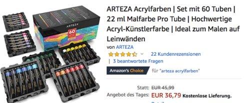 ARTEZA Acrylfarben 60 Tuben je 22 ml Malfarbe - jetzt 25% billiger