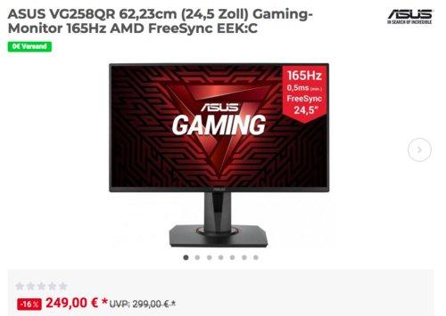 ASUS VG258QR 62,23cm (24,5 Zoll) Gaming-Monitor, 165Hz, 1 ms - jetzt 16% billiger