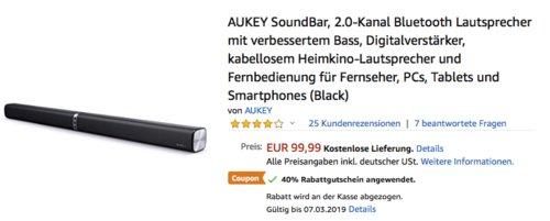 AUKEY SK-M52 Soundbar 2.0-Kanal mit 60 W Gesamtleistung, schwarz - jetzt 40% billiger