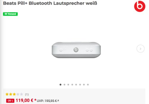 Beats Pill+ Bluetooth Lautsprecher weiß - jetzt 16% billiger