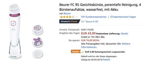 Beurer FC 95 Gesichtsbürste mit 4 Bürstenaufsätzen - jetzt 29% billiger