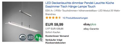 """B.K.Licht LED Deckenleuchte/Pendelleuchte """"Malina"""" höhenverstellbar, 1.600 Lumen - jetzt 14% billiger"""