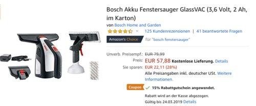 Bosch Akku-Fenstersauger GlassVAC (3,6 Volt, 2 Ah, im Karton) - jetzt 15% billiger