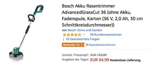 Bosch Akku-Rasentrimmer AdvancedGrassCut 36 ohne Akku, 30 cm Schnittkreisdurchmesser - jetzt 13% billiger
