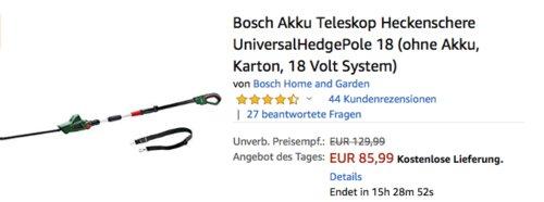 Bosch Akku-Teleskop-Heckenschere UniversalHedgePole 18, ohne Akku, 18 Volt System - jetzt 17% billiger