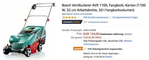 Bosch Elektro-Vertikutierer AVR 1100, 32 cm Arbeitsbreite - jetzt 18% billiger