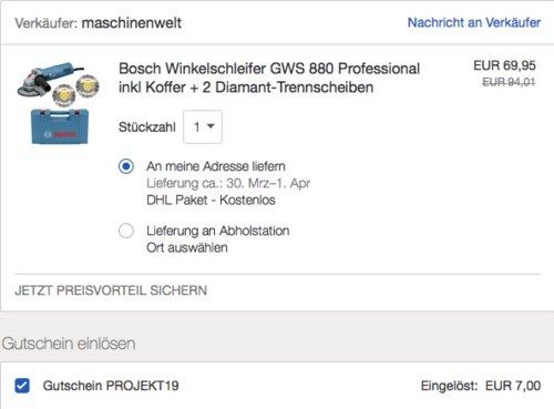 Bosch Professional Winkelschleifer GWS 880 inkl. Koffer + 2 Diamant-Trennscheiben - jetzt 20% billiger