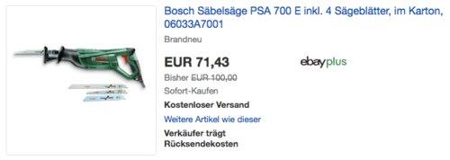 Bosch Säbelsäge PSA 700 E inkl. 4 Sägeblätter, Karton - jetzt 11% billiger