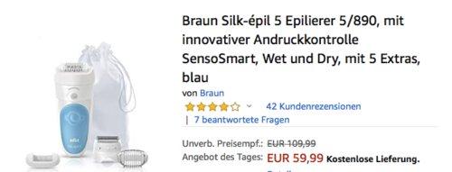 Braun Silk-épil 5 Epilierer 5/890 mit 5 Extras - jetzt 21% billiger
