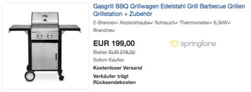 BURNHARD 2-Brenner Gasgrill, 6,3 kw - jetzt 29% billiger