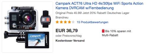 Campark ACT76 4K Action Cam mit Fernbedienung, inkl. 2xBatterien (1050mah) - jetzt 20% billiger