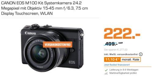 CANON EOS M100 Systemkamera 24.2 Megapixel mit Objektiv 15-45 mm f/6.3 - jetzt 28% billiger