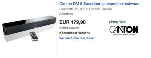 Canton DM 5 Soundbar, 2.1 Virtual Surround System 120W - jetzt 21% billiger