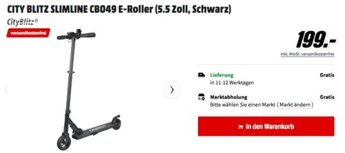 CITY BLITZ SLIMLINE CB049 E-Roller, max. 24 km/h - jetzt 13% billiger