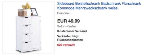 COSTWAY Sideboard Beistellschrank im Landhausstil, 55 x 81 x 30 cm - jetzt 17% billiger