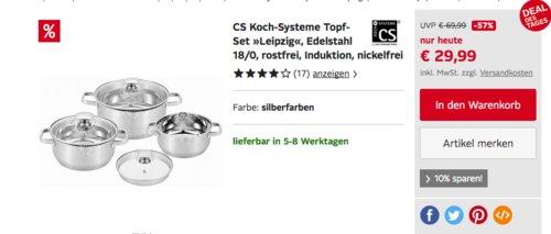 "CS Koch-Systeme Topf-Set ""Leipzig"", 6-tlg. - jetzt 15% billiger"