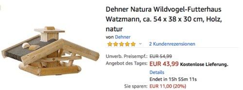 Dehner Natura Wildvogel-Futterhaus Watzmann ca. 54 x 38 x 30 cm, natur - jetzt 20% billiger