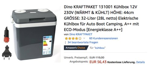 Dino KRAFTPAKET 131001 Kühlbox 12V 230V, 23 Liter - jetzt 23% billiger