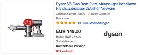 Dyson V6 Car & Boat Extra Akkusauger - jetzt 22% billiger