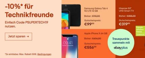 Ebay - 10% Rabatt auf Unterhaltungselektronik: z.B. Hisense H50AE6030 50 Zoll  UHD-Fernseher - jetzt 10% billiger