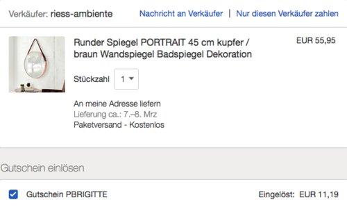 eBay 20% Gutschein auf Mode, Möbel & Dekoration & Beauty: z.B. Runder Spiegel PORTRAIT 45 cm - jetzt 20% billiger