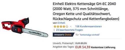 Einhell Elektro-Kettensäge GH-EC 2040 (2000 Watt, 375 mm Schnittlänge) - jetzt 22% billiger