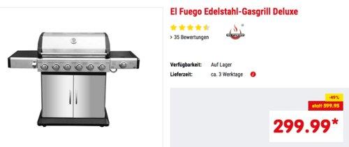 "El Fuego Edelstahl-Gasgrill ""Deluxe"", 6+1 Brenner - jetzt 12% billiger"